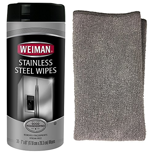 Weiman Stainless Steel Cleaning Wipes and Polish with Microfiber Cloth Kit - Appliance Surfaces Leave Behind a Brilliant Shine (Steel Wipes Cleaning Stainless)