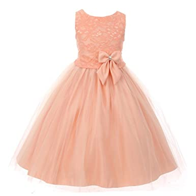 723eeb30d0b Kiki Kids Little Girls Peach Dull Satin Lace Tulle Overlaid Flower Girl  Dress 2