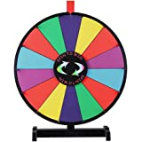 "18"" Round Tabletop Color Dry Erase Spinning Board Prize Wheel 14 Clicker Slots w/ Wood Stand Portable for DIY Custom Sheet Desk Top Carnival Crowd Drawing Game by Generic"