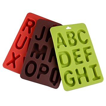 BESTONZON 3 UNIDS letras inglesas del molde del chocolate 3D moldes de pastel de silicona galleta
