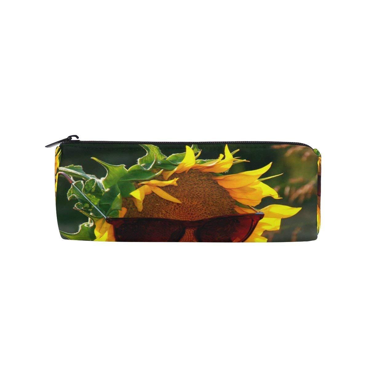 Sunflower Sunglasses Round Pencil Case Stationery Bag Zipper Pouch Pencil Holder