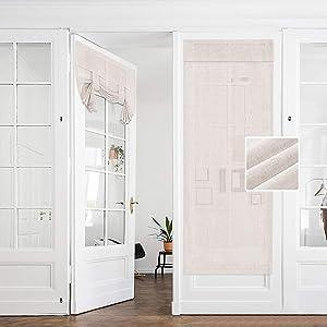 Hakuna 2 Panel Linen Semi Sheer French Door Curtains Beige 26 x 68 Inch, Light & Airy Sheer Door Panel Curtain for Privacy, Tie Up Shade for Front Back Door, Tricia Window, Patio Glass Door