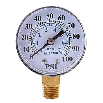 Qiman - Manómetro para bomba de aire (rosca NPT de 1/4 pulgadas,