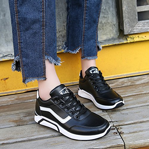 CYBLING Womens Casual Sport Shoes Comfort Flat Lace up Running Walking Sneaker Black RpdCchsOFO