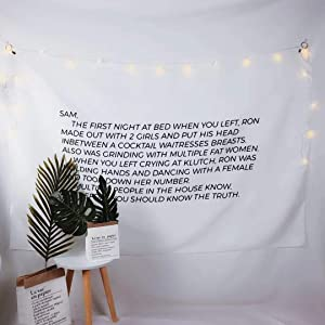 Chanxiu Tapestry Wall Hanging, Wall Tapestry with Jersey Shore Letter to Sammi Home Decorations for Living Room Bedroom Dorm Decor 6040