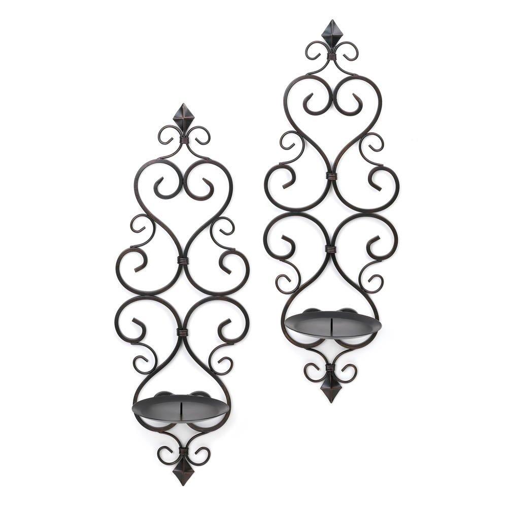 Candle Sconces Wall, Black Bathroom Wall Sconce, Decorative Fleur-de-lis Sconces (Sold by Case, Pack of 6)