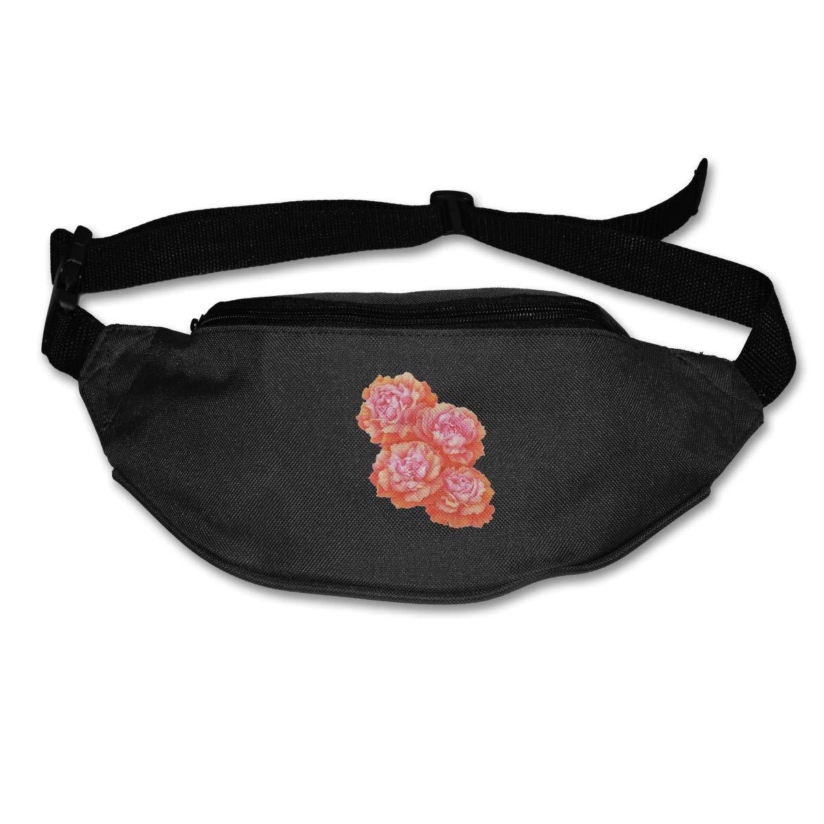 Pink Rose Sport Waist Packs Fanny Pack Adjustable For Run