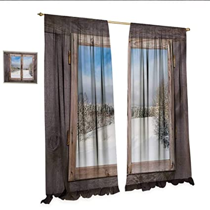 Rustic Drapes For Living Room Winter Season Scene From A Wooden Window Of Country House Snow Vintage Design Window Curtain Drape W84 X L84 Umber White