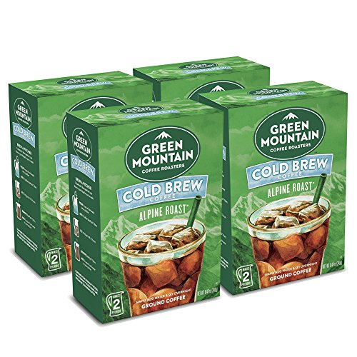Green Mountain Coffee Roasters, Alpine Roast Cold Brew, Dark Roast Coffee, Coarse Ground, Makes 8 - 48oz. Pitchers of Real Cold Brew Coffee, (4 Boxes of 4 filters, total 16 SteePack Coffee Filters)