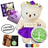 DIYJewelryDepot Valentine's Gift Purple Bear Plush Love Bears + Soap Flowers + Stainless Steel Locket Necklace + Oil Pads (Tree of Life)