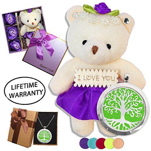 DIYJewelryDepot Valentine's Gift Purple Bear Plush Love Bears + Soap Flowers + Stainless Steel Locket Necklace + Oil Pads (Tree of - Voucher Gift Printable