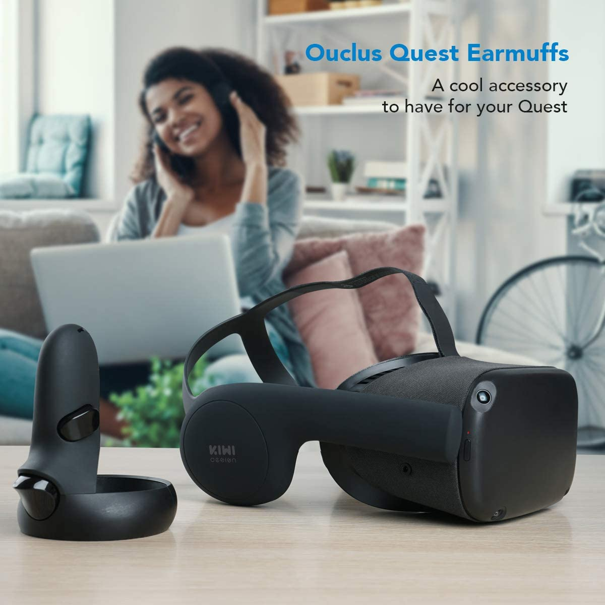 KIWI design Silicone Ear Muffs for Oculus Quest VR Headset Black, 1 Pair A Enhancing Sound Solution for Oculus Quest Accessories