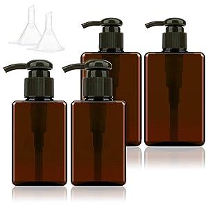 100ml 150ml Refillable Empty Pump Bottles Travel Containers Dispenser Vacuum Press Pump Bottles for Foundation Essence Foam Emulsion Shampoo 4PCS (Brown)