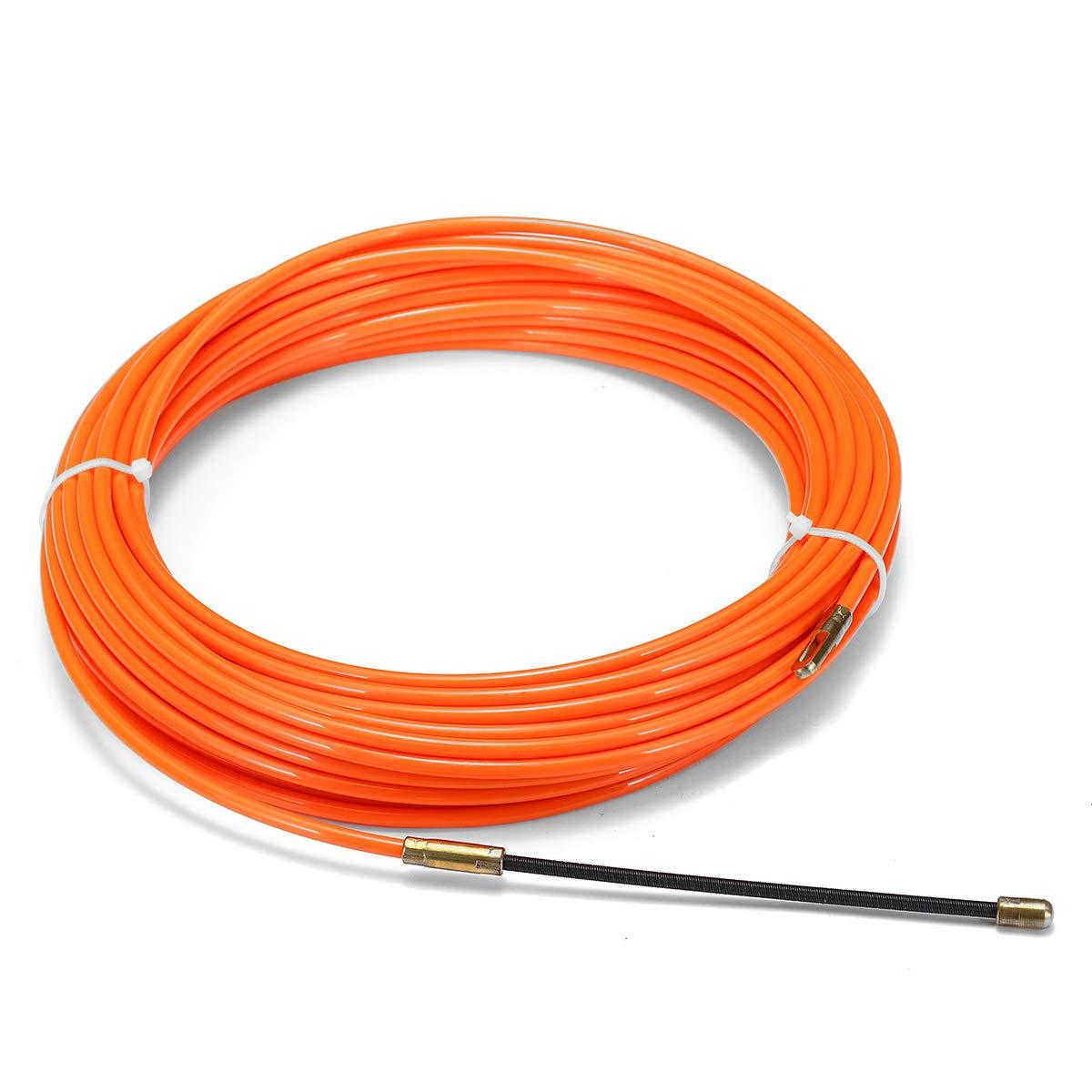 TuToy Cable Empujador Extractor Carrete Conducto Nylon Serpiente Pescado Cinta Alambre Naranja 4Mm 15M - 5Cm