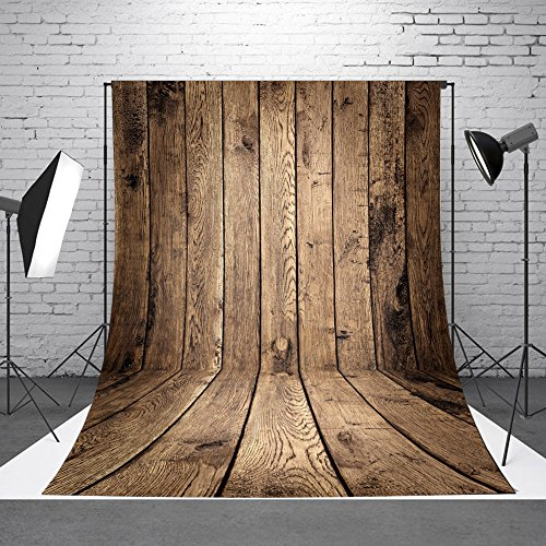 FUT Photo Studio Collapsible Wooden Theme Retro Photography background Grade AAAAA LESS CREASE Vinyl Cloth Backdrop Best for Children,Newborn,Baby,Kids,Wedding,Family Decoration(Updated Material)