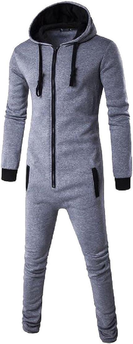 Nicelly Mens All-match Hood Sweatshirt Spell Color Dress Suit Bodysuit Light Grey L
