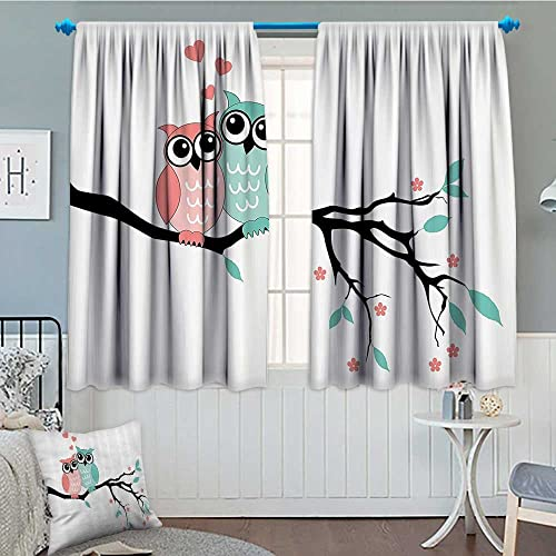 SeptSonne-Home Teal and White Thermal Insulating Blackout Curtain Cute Owl Couple Sitting on Tree Branch Valentines Romance Love Patterned Drape for Glass Door 52 x63 Turquoise Coral Black