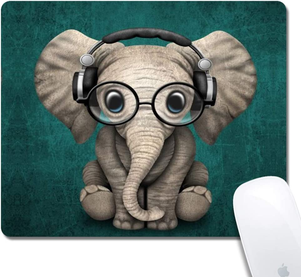 DJ Elephant Pattern Mouse Pad - Rolay Up Thick Keyboard Mouse Mat Non-Slip Nature Rubber for Gaming Office Working