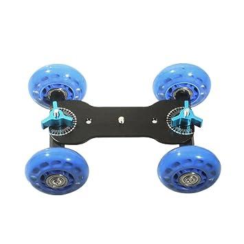 Andoer Super silencio mesa dolly Mini coche patinador pista deslizante para DSLR Cámara Videocámara, color azul