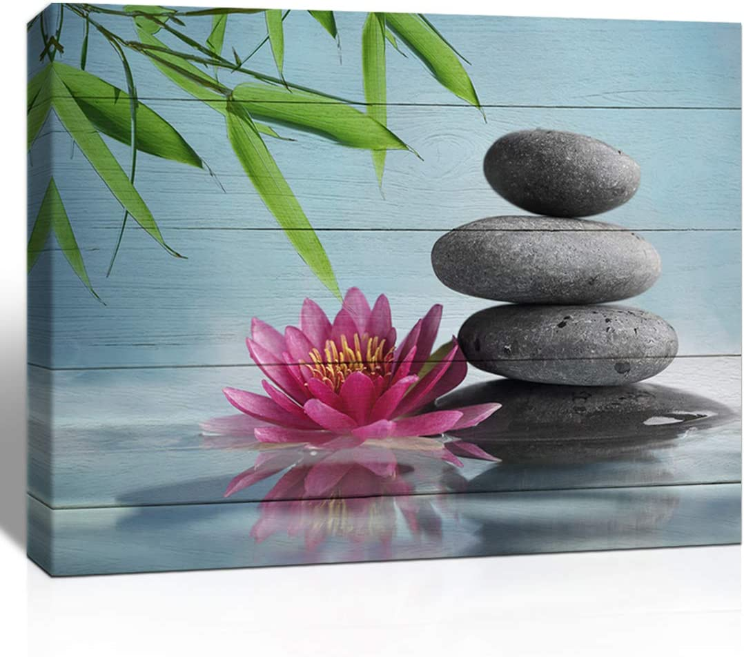 The Melody Art Pink Lotus Flower Bamboo and White Stone Wooden Wall Decorations Zen Painting Home Decor Canvas Wall Art 12x16 inch, Framed, 1 Panel