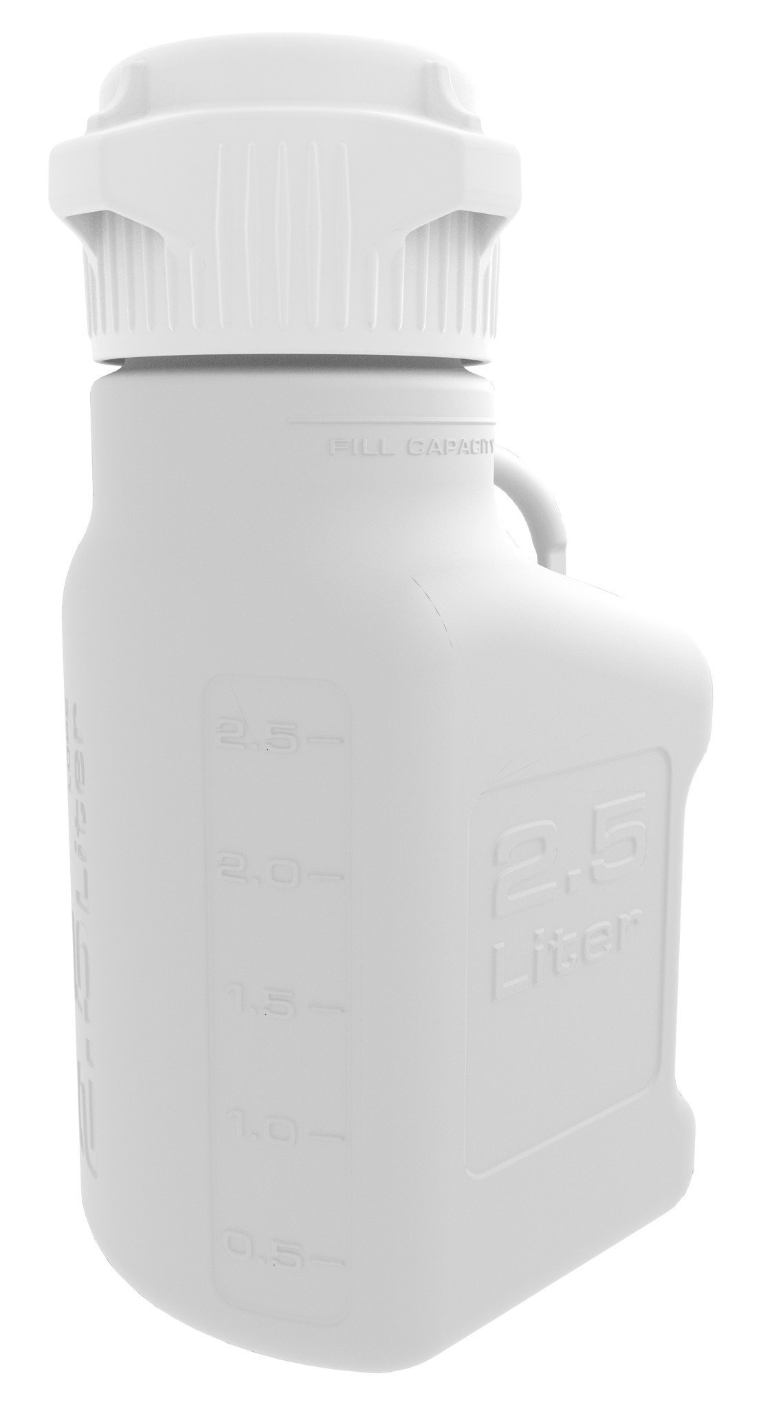 EZgrip 2.5L (0.5 Gal) HDPE Space Saving Carboy with 83mm (83B) VersaCap and 3.25L Max Capacity, Large Pinched Handles