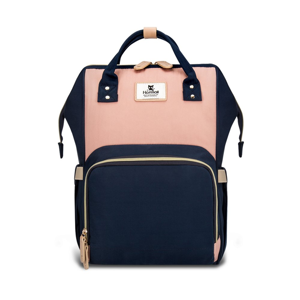 Hafmall Diaper Bag Backpack - Waterproof Travel Nappy Bag Multifunction Baby Bag (Pink&Navy Blue) by Hafmall