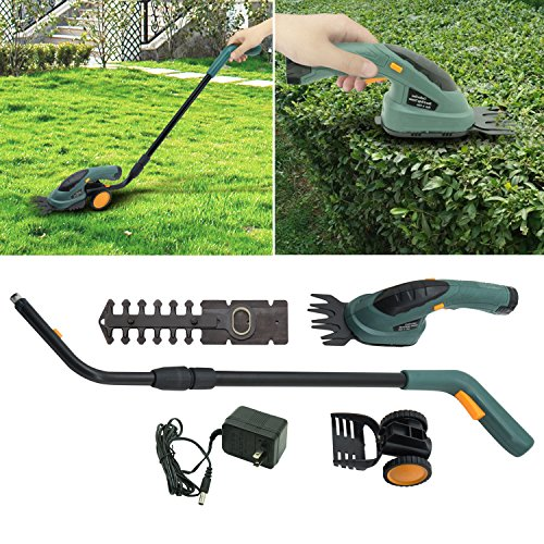 "GHP 13.8""lx4.3""x22.8''-35.4"" 2-in-1 Electric Cordless 3.6v Yard Lawn Mower Grass Shear Hedge Trimmer"