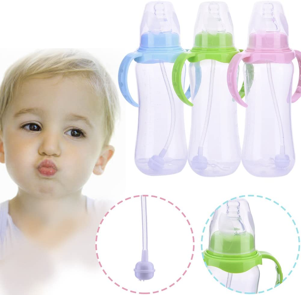Color Randomly Per 240ml Babies Kids Children Pacifier Straw Water Bottle Sippy Cup Feeding Drinking Cup with Handle