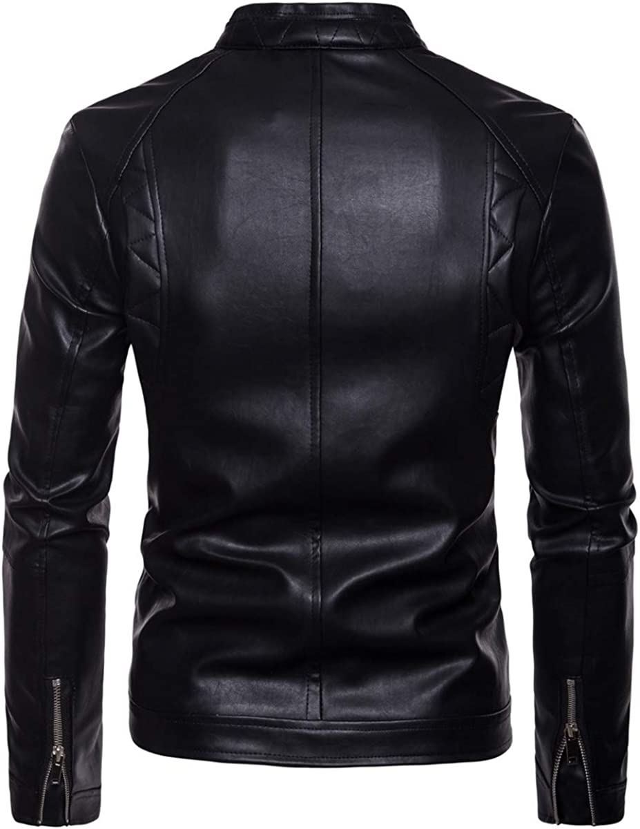 Mens Faux Leather Jacket Classic Motorcycle Biker Bomber Slim Fit Jacket