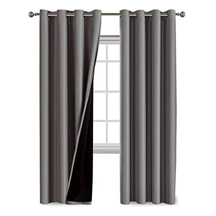 double layer curtains one rod 100 blackout curtains for bedroom thermal insulated lined 84 inches double layer amazoncom