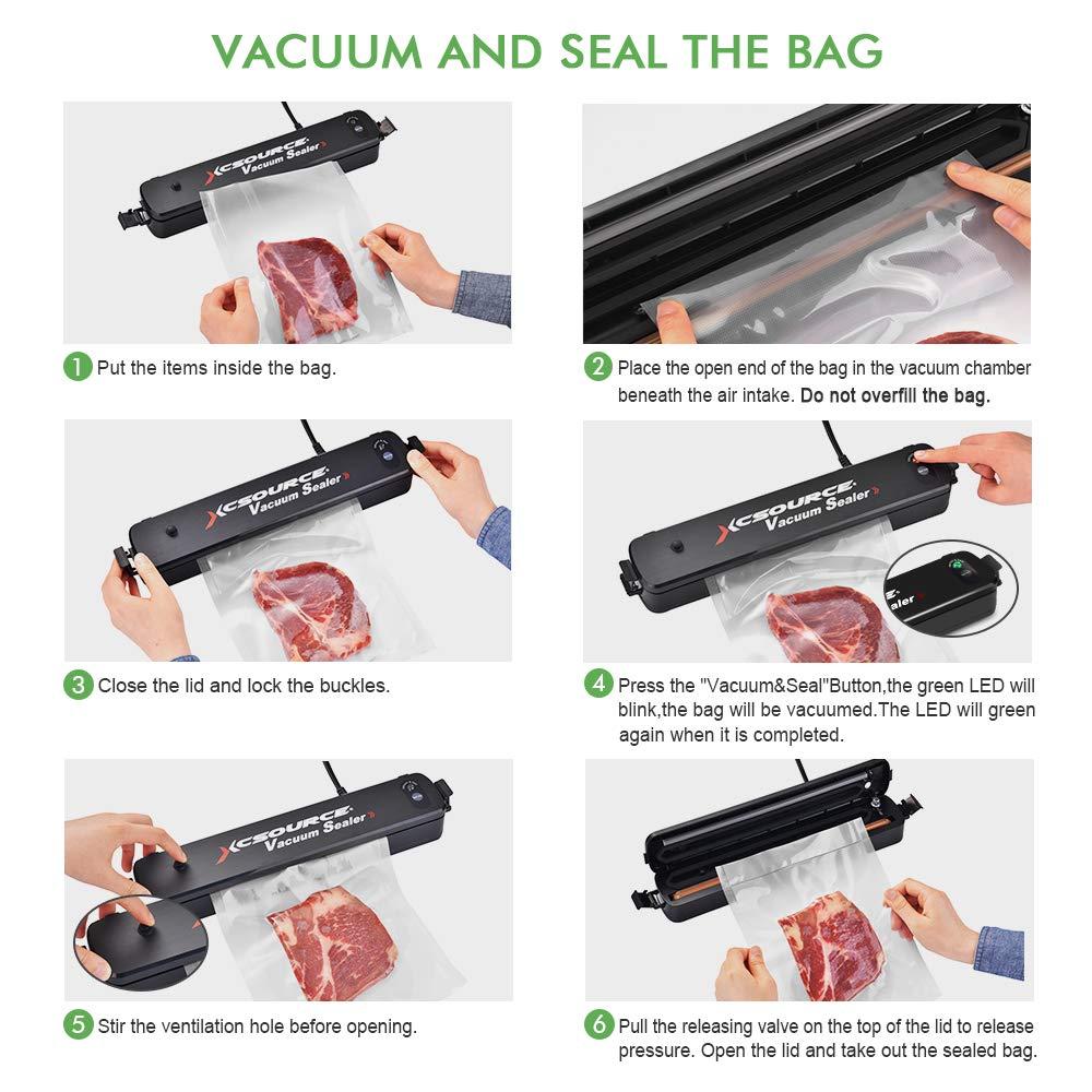 Sunix Vakuumierger/ät Schwarz Automatische Vakuum Versiegelungsmaschine mit Vakuum Versiegelungsbeuteln LED Kontrollleuchten