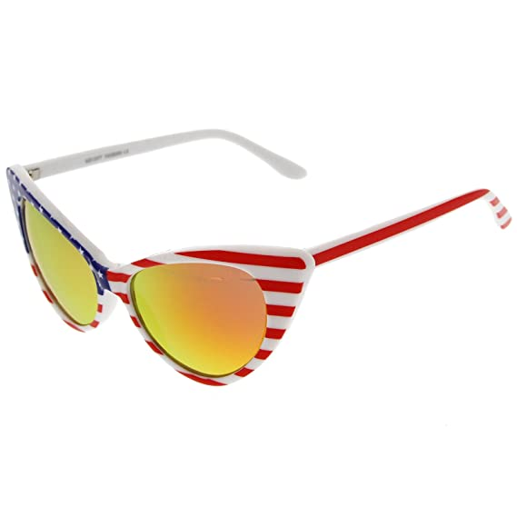 fd29db70de4 Amazon.com  American Flag Patriotic Stars and Stripes Flash Mirrored Super  Cat Eye Sunglasses (White Fire Mirror)  Clothing