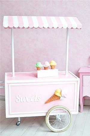ofila Sweet carrito de helados telón de fondo 3 x 5ft fotografía fondo rosa papel pintado Suelo de madera los niños Niños Bebé retratos fotos fotografía ...