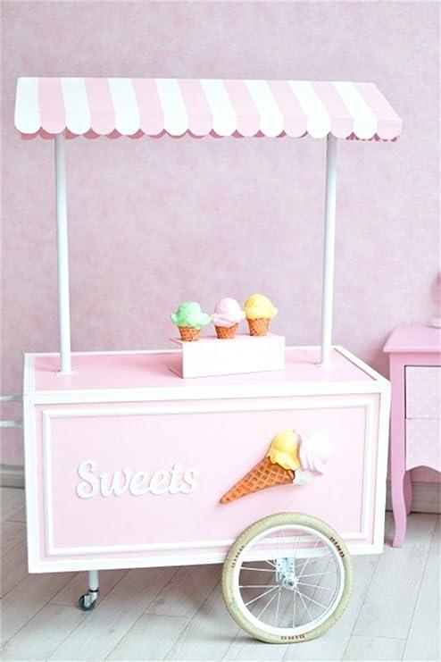 ofila Sweet carrito de helados telón de fondo 3 x 5ft fotografía fondo rosa papel pintado