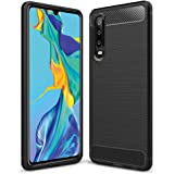 Huawei P30 Case Carbon Fiber Hybrid Heavy Duty Anti Knock Protective Shockproof Cover (Black)