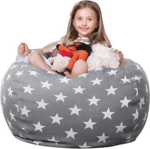 WEKAPO Stuffed Animal Storage Bean Bag Chair Cover