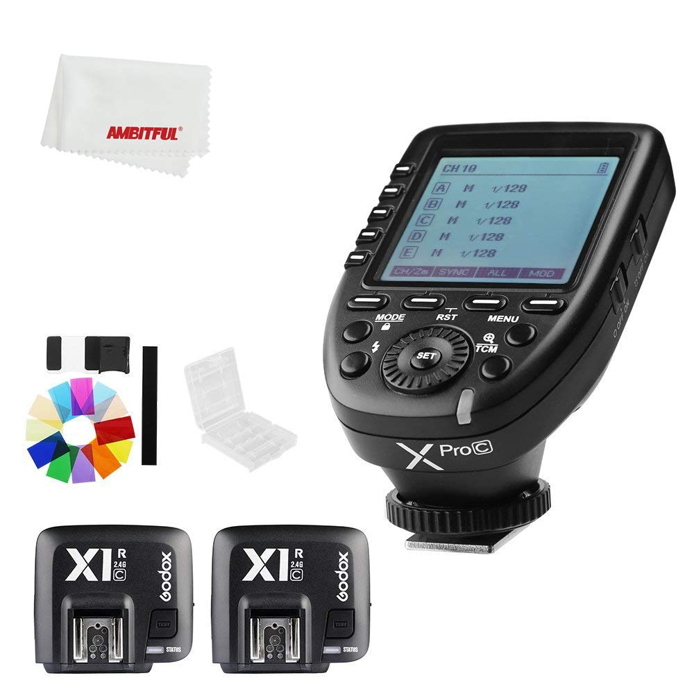 Godox Xpro-C E-TTL II 2.4G X System Wireless Control Remote Trigger with 2X X1R-C Controller Receiver Compatble for Canon Flash