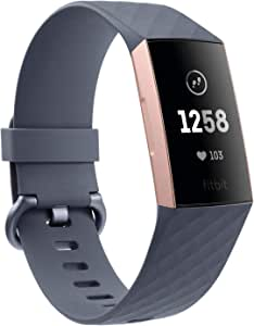 Fitbit Charge 3 Fitness Activity Tracker, Rose Gold/Blue Grey, one Size (no fitbit Warranty Support), 0.06 Pound
