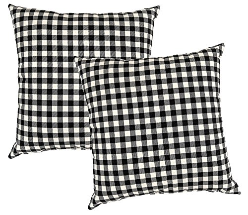 Metje 17x17 Check Decorative Toss Pillows, 2-Pack, Medium, Black, 2 Piece