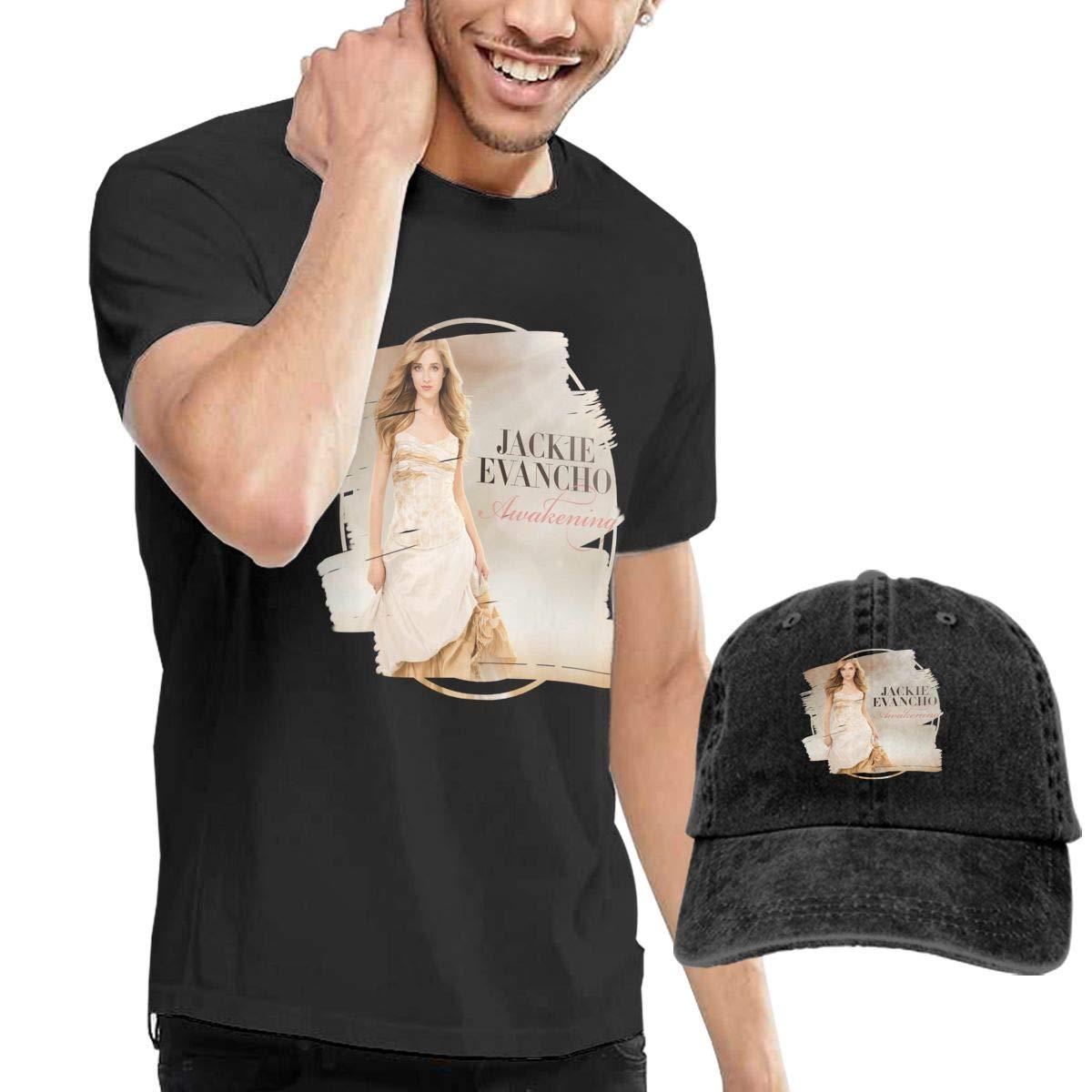 RKUQUVNTAO Mens Jackie Evancho Awakening T Shirt and Washed Denim Baseball Dad Hat Black