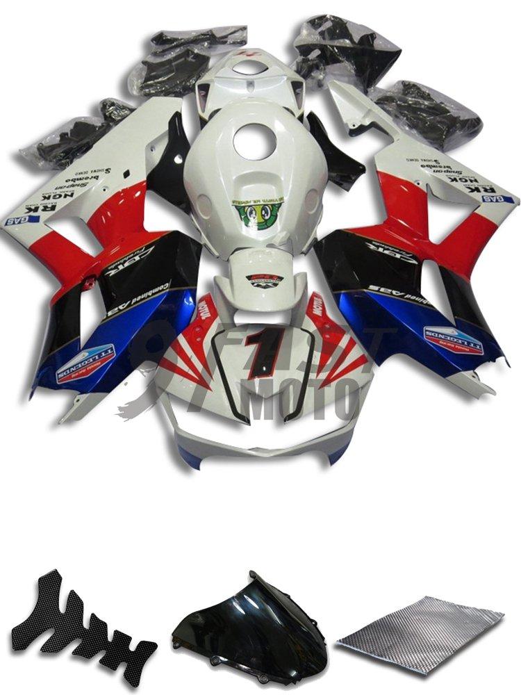 9FastMoto honda ホンダ 13 14 15 16 CBR600RR F5 2013 2014 2015 2016 CBR600 RR F5 用フェアリング オートバイフェアリングキット ABS 射出成形セット スポーツバイク カウル パネル (ホワイト & レッド) H1157   B07C8LHCX3