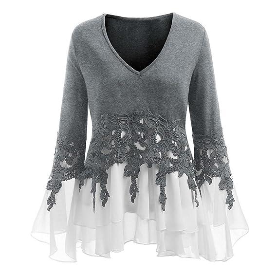 Longra ✓2018 Moda para mujer apliques de encaje ocasionales Flowy gasa con cuello en v