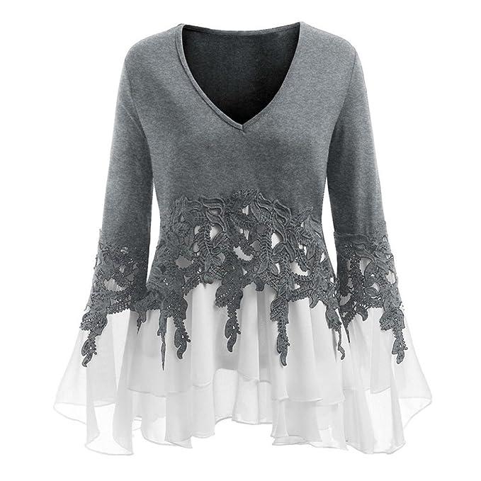 Longra ✓2018 Moda para mujer apliques de encaje ocasionales Flowy gasa con cuello en v blusa de manga larga Tops: Amazon.es: Alimentación y bebidas