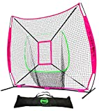 Flair Sports Baseball & Softball Net for Hitting & Pitching | Heavy Duty 7x7 Pro Series | Indoor & Outdoor Training Net | Bow Frame + Bonus Strike Zone Included (Neon Pink, Neon Green)