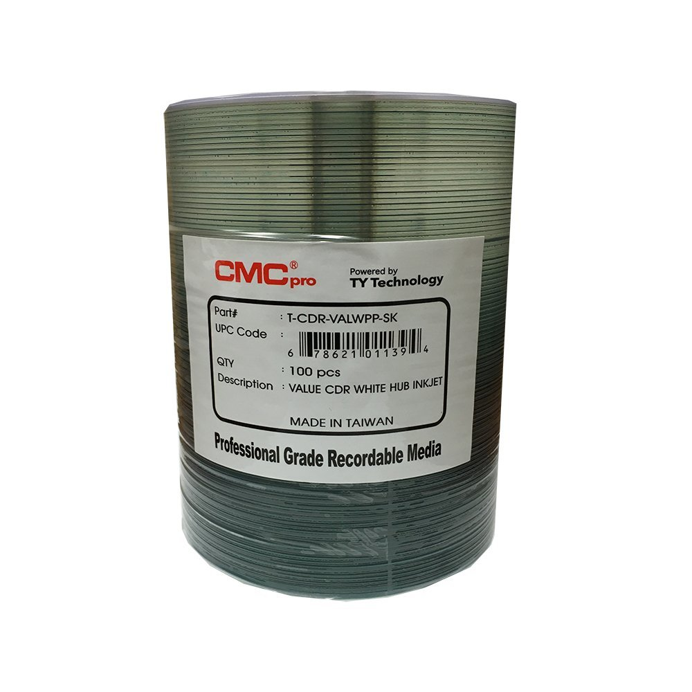 100 CMC Pro - Powered by TY Valueline 48X CDR (CD-R) 80min 700MB White Inkjet Hub Printable