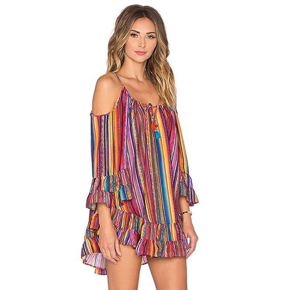fe66c6af Vestido de tirantes de gasa suelta de verano con estampado de arco iris de  las mujeres vestido de playa con flecos: Amazon.es: Ropa y accesorios