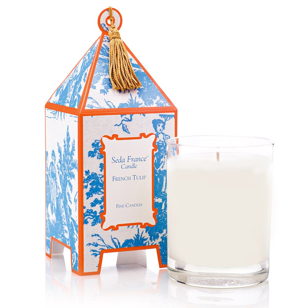 Seda France Classic Toile Pagoda Box Candle, French Tulip, 10.2 Ounce by Seda France