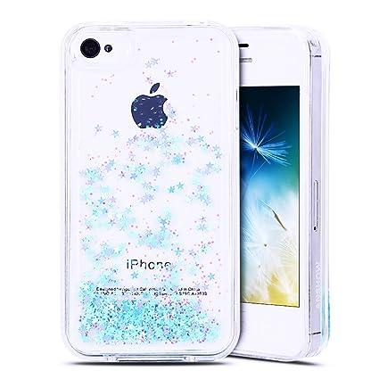 Anfire Funda iPhone 4 / 4S Carcasa Glitter Silicona Líquido TPU Case Transparente Flotante Moviendo Lentejuela Cubierta Caja Claro Cristal Protectora ...