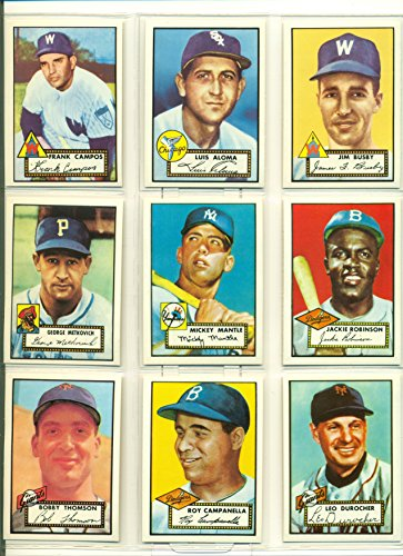 1952 Topps Baseball Complete Reprint Set from 1983 with Mickey Mantle Jackie Robinson Willie Mays in Binder - Mint