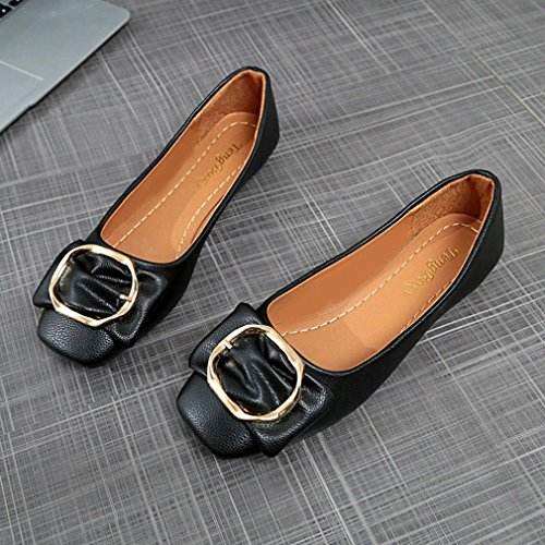Shallow Shoes Shoes Single Single Black Buckle Low hunpta Heel Bowknot Pointed Square Shoes Women 7txwznZ4